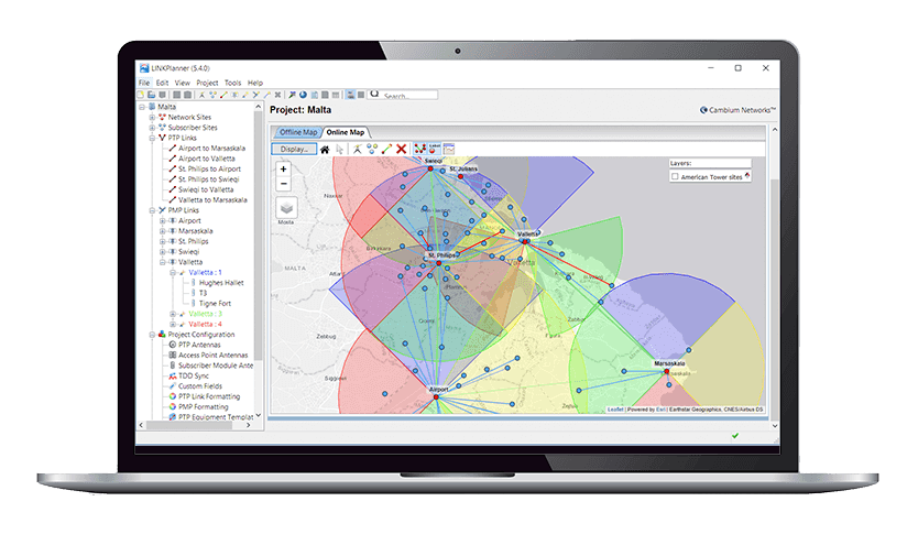Microsoft compatible wireless manager, Path Profile Web Service, LINKPlanner, RF link planning tool, design networks, Mac compatible wireless manager, Automatic path profile import
